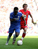 Photo: Paul Thomas.<br />Blackburn Rovers v Chelsea. The FA Cup, Semi Final. 15/04/2007.<br /><br />Michael Essien (L) gets past Morten Gamst Pedersen of Blackburn.