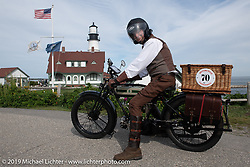 Arrie Redelinghuys riding his 1919 Triumph on the Motorcycle Cannonball coast to coast vintage run. Portland, ME. Friday September 7, 2018. Photography ©2018 Michael Lichter.