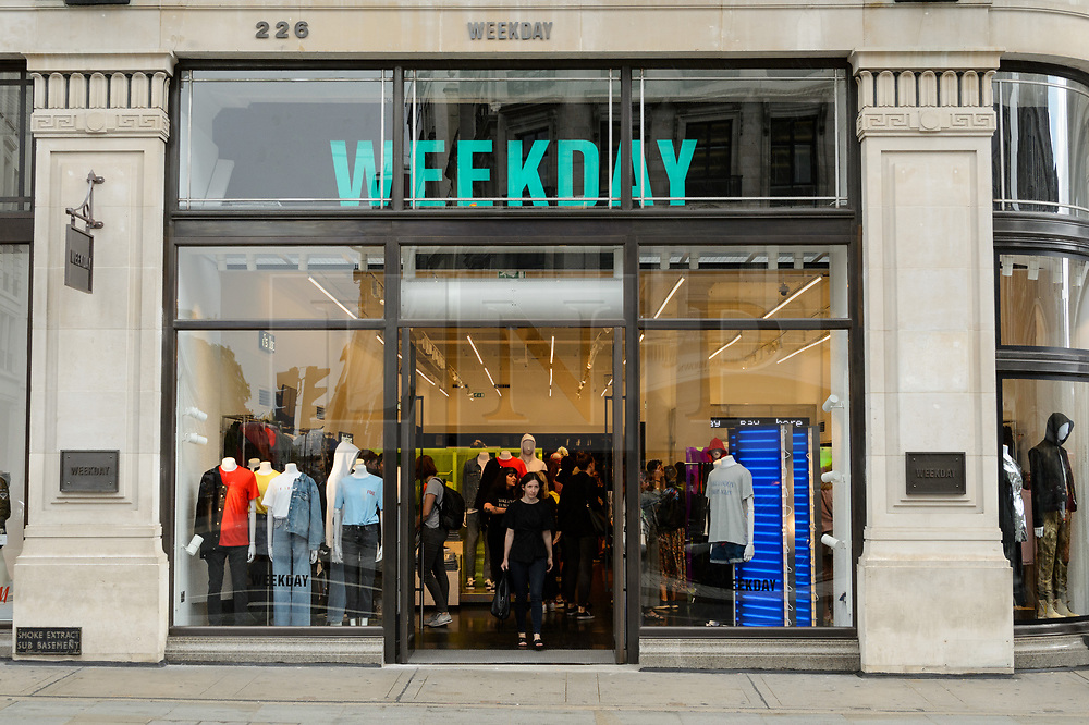 © Licensed to London News Pictures. 18/08/2017. London, UK. The opening of H&M group's first Weekday clothing store in Regent Street. Weekday is know for its offerings and minimalist styles, with 27 stores throughout Europe. The store is next to the H&M Arket lifestyle store. Photo credit: Ray Tang/LNP