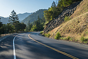 Highway 299 running through the Trinity River canyon, Shasta-Trinity National Forest, California