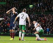 Chris Martin of Scotland reacts after missing a chance to score  - UEFA Euro 2016 Qualifier - Scotland vs Republic of Ireland - Celtic Park Stadium - Glasgow - Scotland - 14th November 2014  - Picture Simon Bellis/Sportimage