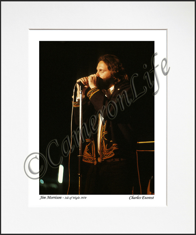 """Jim Morrison - An affordable archival quality matted print ready for framing at home.<br /> Ideal as a gift or for collectors to cherish, printed on Fuji Crystal Archive photographic paper set in a neutral mat (all mounting materials are acid free conservation grade). <br /> The image (approx 6""""x8"""") sits within a titled border. The outer dimensions of the mat are approx 10""""x12""""."""