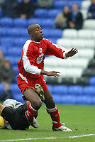 Photo: Jo Caird<br />Peterborough v Bristol city<br /><br />Nationwide Div 2 2004<br />14/02/2004.<br /><br />Aaron Brown caught by Mark Tyler