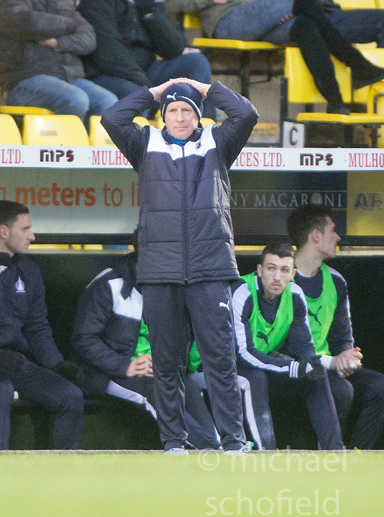 Falkirk's manager Peter Houston. <br /> Livingston 1 v 1 Falkirk, Scottish Championship game at The Tony Macaroni Arena at 23/1/2016.