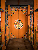 PUNAKHA, BHUTAN - CIRCA October 2014: Typical door inside the Punakha Dzong, a landmark in Punakha, Bhutan