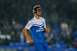 Christian Burgess of Peterborough United looks on in a protective face mask - Photo mandatory by-line: Rogan Thomson/JMP - 07966 386802 - 28/11/2014 - SPORT - FOOTBALL - Peterborough, England - ABAX Stadium - Peterborough United v Bristol City - Sky Bet League 1.