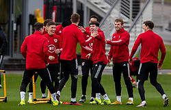 CARDIFF, WALES - Monday, March 29, 2021: Wales' Harry Wilson, Neco Williams and Rhys Norrington-Davies during a training session at the Vale Resort ahead of the FIFA World Cup Qatar 2022 Qualifying Group E game against the Czech Republic. (Pic by David Rawcliffe/Propaganda)