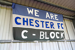 General view of a banner hanging in the stands at Deva Stadium