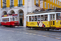 Portugal, Lisbonne, quartier de Baixa pombalin, tramway at Praca do Comercio ou Place du Commerce // Portugal, Lisbon, tram at Praca do Comercio, or Commerce Square