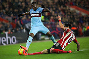 Saturday 6th February Barclays Premier League - Southampton FC vs West Ham United<br /> Enner Valencia is tackled by  José Fonte <br /> Photo: Kieran Clarke