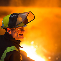 Scunthorpe - Heavy End - Steel Production man working near blast furnace at large steel plant