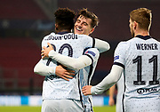 Callum Hudson-Odoi of Chelsea celebrates his goal with Mason Mount during the UEFA Champions League, Group E football match between Stade Rennais and Chelsea on November 24, 2020 at Roazhon Park in Rennes, France - Photo Jean Catuffe / ProSportsImages / DPPI