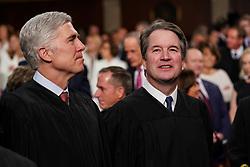 FEBRUARY 5, 2019 - WASHINGTON, DC: Supreme Court Neil Gorsuch, left, and Brett Kavanaugh at the Capitol in Washington, DC, USA on February 5, 2019. Photo by Doug Mills/Pool via CNP/ABACAPRESS.COM