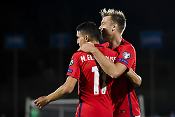 October 5, 2017 - San Marino, SAN MARINO - 171005 Mohamed Elyounoussi and Alexander Toft SÂ¿derlund of Norway celebrate 7-0 during the FIFA World Cup Qualifier match between San Marino and Norway on October 5, 2017 in San Marino. .Photo: Fredrik Varfjell / BILDBYRN / kod FV / 150027 (Credit Image: © Fredrik Varfjell/Bildbyran via ZUMA Wire)