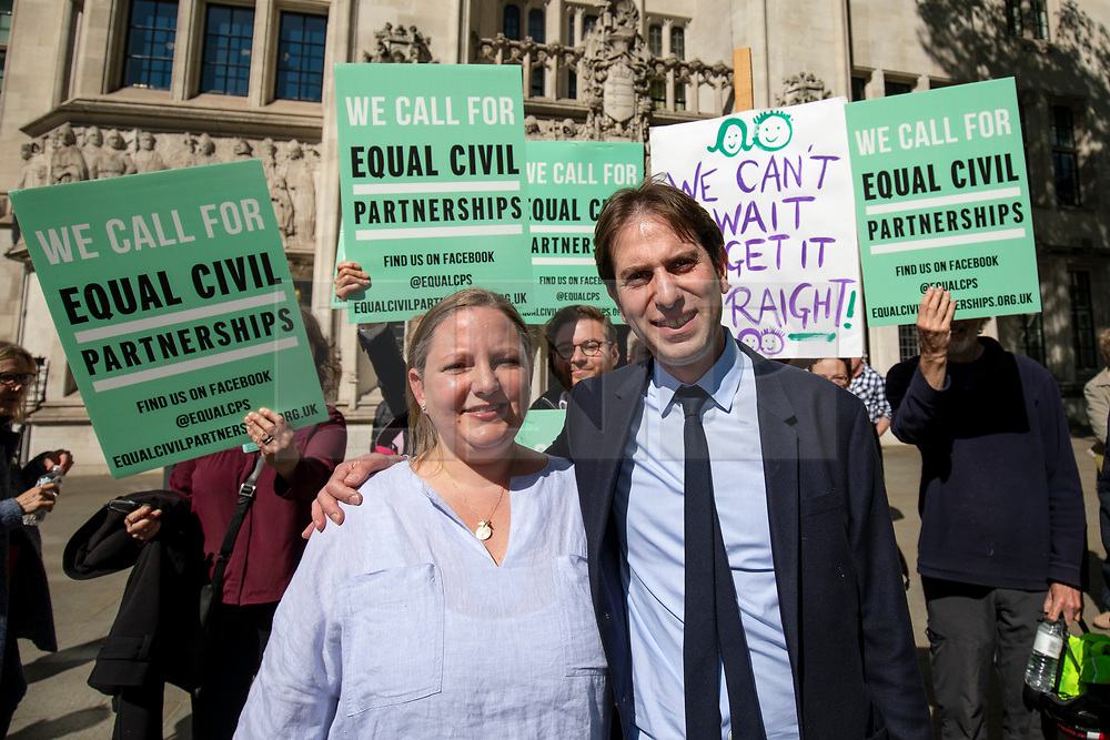 © Licensed to London News Pictures. 14/05/2018. London, UK. Rebecca Steinfeld (L) and Charles Keidan (R) arrive at the Supreme Court where they seek a change in the law that will allow heterosexual couples to enter into civil partnerships. Steinfeld and Keidan, who have 'deep-rooted' ideological objections to the institution of marriage, have previously lost their case at the High Court and the Court of Appeal. Photo credit: Rob Pinney/LNP