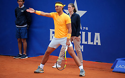 April 29, 2018 - Barcelona, Catalonia, Spain - Rafa Nadal during the match against Stefanos Tsitsipas during the final of the Barcelona Open Banc Sabadell, on 29th April 2018 in Barcelona, Spain. (Credit Image: © Joan Valls/NurPhoto via ZUMA Press)