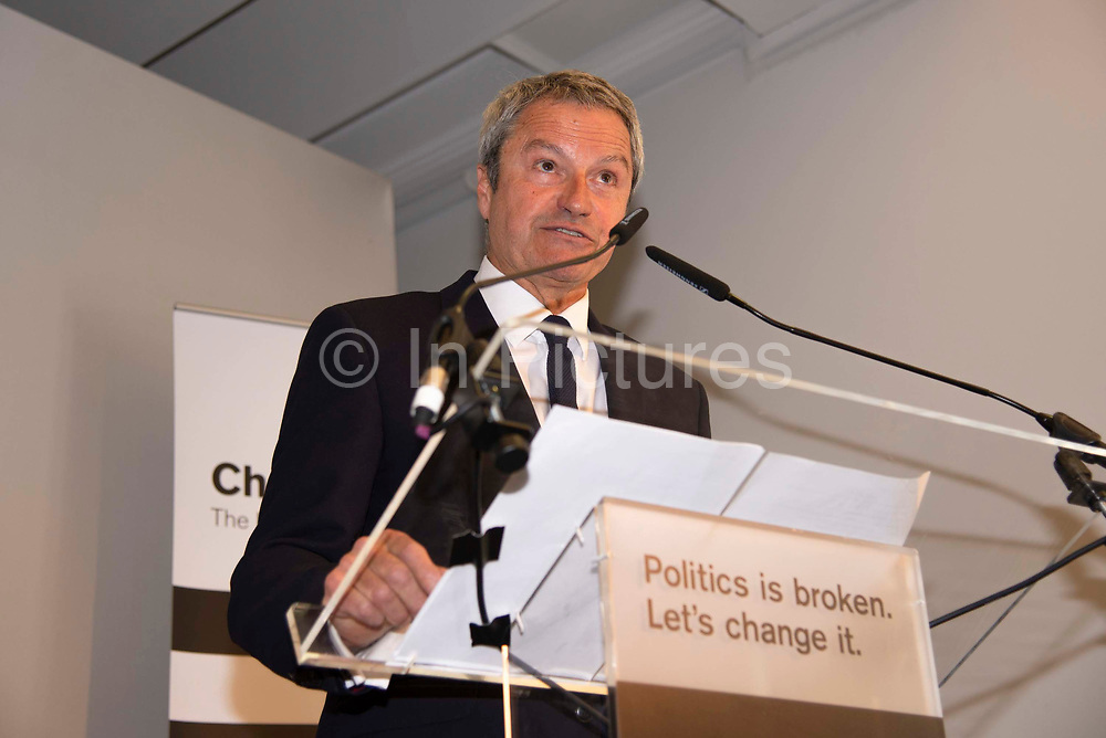 Gavin Esler, MEP candidate for Change UK , speaks during a Peoples Vote Remain rally for the European elections by newly formed political party Change UK in London on 30th April, 2019 in London, England, United Kingdom. Change UK - The Independent Group, was formed in February 2019 by breakaway members of Parliaments from Conservative and Labour parties. The group are pro European Union and are calling for a peoples vote on Britainss exit from the union.