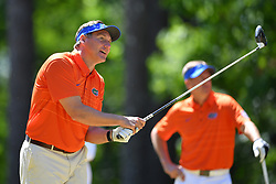 Dan Mullen tees off during the Chick-fil-A Peach Bowl Challenge at the Oconee Golf Course at Reynolds Plantation, Sunday, May 1, 2018, in Greensboro, Georgia. (Dale Zanine via Abell Images for Chick-fil-A Peach Bowl Challenge)