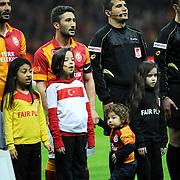 Galatasaray's Sabri Sarioglu (2ndL) during their Turkish Super League soccer match Galatasaray between MP Antalyaspor at the TT Arena Stadium at Seyrantepe in Istanbul Turkey on Sunday 10 February 2013. Photo by TURKPIX