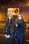 NO FEE PICTURES<br /> 30/12/15 Roisin and Niamh Sulzbach, Dublin at the Luminosity 3D animations on the Department of Foreign Affairs on St Stephens Green, part of the New Years Festival in Dublin. nyf.com running from 30th Dec to 1st Jan in Dublin. Picture: Arthur Carron