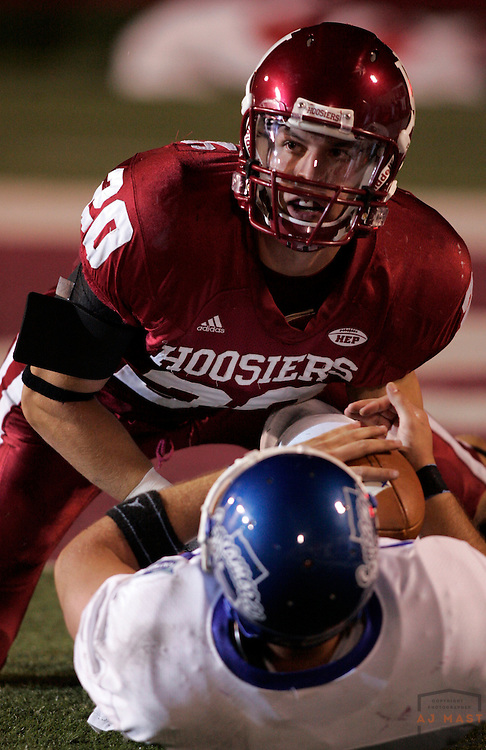 01 September 2007: Indiana safety Austin Thomas (20) as the Indiana Hoosiers played the Indiana State Sycamores in a college football game in Bloomington, Ind. Indiana won 55-7.