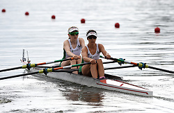Ireland's Aoife Casey and Denise Walsh in the Lightweight Women's Double Sculls heat one during day one of the 2018 European Championships at the Strathclyde Country Park, North Lanarkshire.