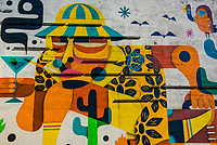 """A mural of Hunter S. Thompson (author of """"Fear and Loathing in Las Vegas"""", Freemont Strreet, Downtown Las Vegas, Nevada USA."""