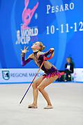 Tikkanen Jouki during qualifying at ribbon in Pesaro World Cup 11 April 2015. Jouki was born July 05, 1995. She is a Finnish individual rhythmic gymnast.