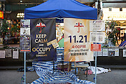 Signs advising of an upcoming protest to be staged at the British Consulate. Ongoing protests in Hong Kong over democratic rights are now into their second month.