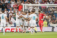 Real Madrid's Theo Hernandez, Cristiano Ronaldo, Lucas Vazquez and Marco Asensio celebrating a goal during XXXVIII Santiago Bernabeu Trophy at Santiago Bernabeu Stadium in Madrid, Spain August 23, 2017. (ALTERPHOTOS/Borja B.Hojas)