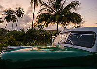 BARACOA, CUBA - CIRCA JANUARY 2020: Classic Cuban car around Bahia de Mata, a village close to Baracoa in Cuba.
