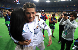 Real Madrid's Cristiano Ronaldo celebrates with his girlfriend Georgina Rodriguez after winning the UEFA Champions League Final at the NSK Olimpiyskiy Stadium, Kiev.