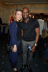 DAVID GYASI and his wife EMMA at the opening night of People, Places & Things at The Wyndham's Theatre, Charing Cross Road, London on 23rd March 2016,