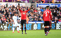 CELE - Manchester United's Paul Pogba celebrates scoring the opening goal <br /> <br /> Photographer Ashley Crowden/CameraSport<br /> <br /> The Premier League - Swansea City v Manchester United  - Sunday 6th November 2016 - Liberty Stadium - Swansea<br /> <br /> World Copyright © 2016 CameraSport. All rights reserved. 43 Linden Ave. Countesthorpe. Leicester. England. LE8 5PG - Tel: +44 (0) 116 277 4147 - admin@camerasport.com - www.camerasport.com