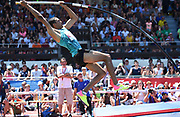 Pierce LePage (CAN) clears 17-2 3/4 (5.25m) in the pole vault  during the decathlon at the DecaStar meeting, Saturday, June 23, 2019, in Talence, France. LePage won with 8,453 points. (Jiro Mochizuki/Image of Sport)