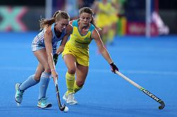 Argentina's Agusstina Habif and Australia's Ambrosia Malone in action