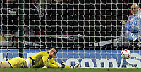 Photo: Paul Thomas/Sportsbeat Images.<br />England v Croatia. UEFA European Championships Qualifying. 21/11/2007.<br /><br />Dejected Scott Carson (Yellow) of England after Croatia score there third goal.