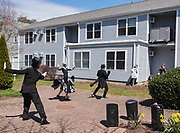 CHATHAM - From left, Dancers Adam Spencer, Angel Fox and Brandon Simmons perform a dance routine choreographed over Zoom for residents at Broad Reach Health's Liberty Commons nursing center on Thursday, April 25, 2020.