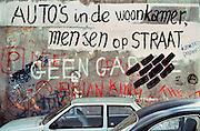 Nederland, Nijmegen 15-11-1980Grafitti. Protest tegen ontruiming en sloop kraakpanden aan de Piersonstraat. Woningnood Parkeergarage. Zeigelhof. Parkeren in de binnenstad, het centrum. Enkele maanden later werden de woningen ontruimd met een grote politiemacht.Foto: Flip Franssen/Hollandse Hoogte.