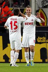 16.10.2011,  Rhein Energie Stadion, Koeln, GER, 1.FBL, 1. FC Koeln vs Hannover 96 ,im Bild.Lukas Podolski (Koeln #10) strahlt. mit Slawomir Peszko (Koeln #15)..// during the 1.FBL, 1. FC Koeln vs Hannover 96 on 2011/10/16, Rhein-Energie Stadion, Köln, Germany. EXPA Pictures © 2011, PhotoCredit: EXPA/ nph/  Mueller *** Local Caption ***       ****** out of GER / CRO  / BEL ******
