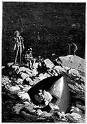 The astronauts surveying the Moon. From Jules Verne 'Autour de la Lune', Paris, 1865. Wood engraving.