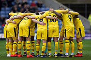 Oxford United huddle during the EFL Sky Bet League 1 match between Oxford United and Peterborough United at the Kassam Stadium, Oxford, England on 16 February 2019.