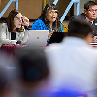 Bidtah Becker, center, explains the NGS legislation during a special session of the at the Navajo Nation Council in the Navajo Department of Education in Window Rock Monday.