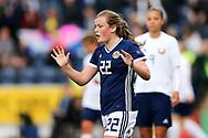 Erin Cuthbert (#22) of Scotland celebrates scoring Scotland's second goal (2-1) during the FIFA Women's World Cup UEFA Qualifier match between Scotland Women and Belarus Women at Falkirk Stadium, Falkirk, Scotland on 7 June 2018. Picture by Craig Doyle.