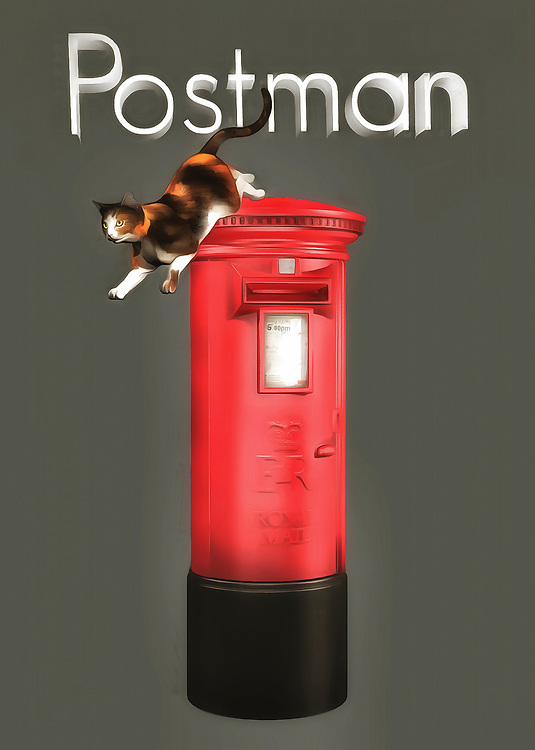 The idea of a cat delivering the mail is something that is certain to fill even the deepest cynic with a sense of delight. You can bring that hilarious thought to life with this adorable image that combines a kitty cat with a post office box. The cat has been perched atop the mailbox for an unknown amount of time, and it is preparing to leap off, and get on with the rest of its day. Are there more mailboxes to visit? While you can't say for certain, this fine art piece can certainly get your imagination going in the right direction! .<br /> <br /> BUY THIS PRINT AT<br /> <br /> FINE ART AMERICA<br /> ENGLISH<br /> https://janke.pixels.com/featured/postman-jan-keteleer.html<br /> <br /> WADM / OH MY PRINTS<br /> DUTCH / FRENCH / GERMAN<br /> https://www.werkaandemuur.nl/nl/shopwerk/Katten-postbode/436511/134