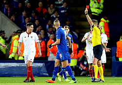 Samir Nasri of Sevilla is sent off - Mandatory by-line: Robbie Stephenson/JMP - 14/03/2017 - FOOTBALL - King Power Stadium - Leicester, England - Leicester City v Sevilla - UEFA Champions League round of 16, second leg