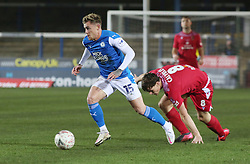 Sammie Szmodics of Peterborough United gets away from Mike Calveley of Chorley - Mandatory by-line: Joe Dent/JMP - 28/11/2020 - FOOTBALL - Weston Homes Stadium - Peterborough, England - Peterborough United v Chorley - Emirates FA Cup second round