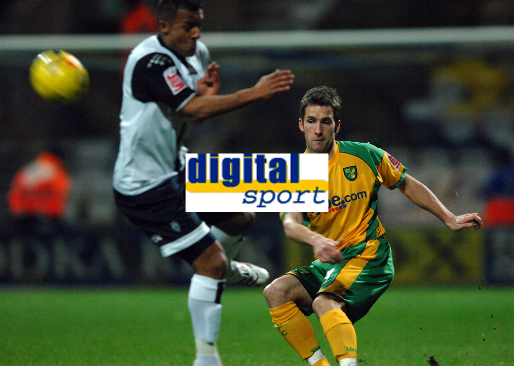 Photo: Paul Greenwood.<br />Preston North End v Norwich City. Coca Cola Championship. 20/02/2007. Preston's Seyfo Soley, left, takes evasive action as Adam Drury plays the ball