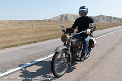 Denis Sharon riding his 1916 Harley-Davidson model F during the Motorcycle Cannonball coast to coast vintage run. Stage 9 (294 miles) from Pierre to Sturgis, SD. Sunday September 16, 2018. Photography ©2018 Michael Lichter.