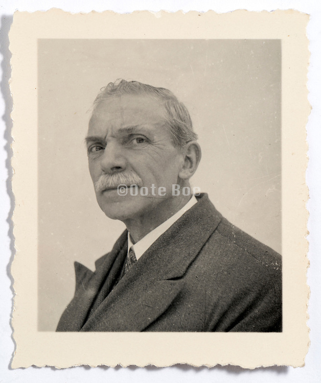 vintage identity document style head and shoulder portrait